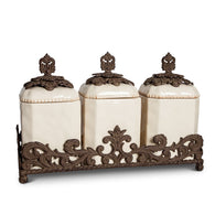 The GG Collection Gracious Goods Provencial Collection Cream Canister Set - Avenue of Oaks Decor