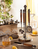 The GG Collection Gracious Goods Bartool Stand with 5 Hanging Bar Tools - Avenue of Oaks Decor