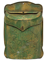AGED GREEN METAL POST BOX - Avenue of Oaks Decor