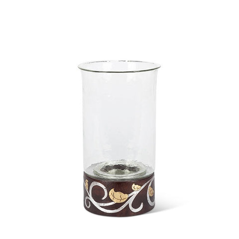 "GG Collection Mango Wood with Metal Inlay Gold Leaf and Vine 13.5""H Candleholder - Avenue of Oaks Decor"
