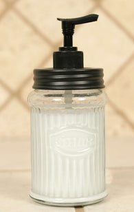 Clear Glass Hoosier Lotion Dispenser with Black Pump - Avenue of Oaks Decor