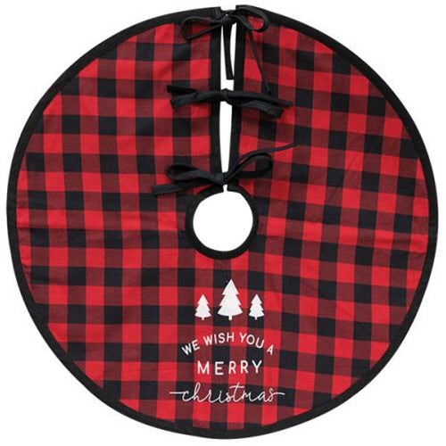 Red Buffalo Check Merry Christmas Tree Skirt - Avenue of Oaks Decor