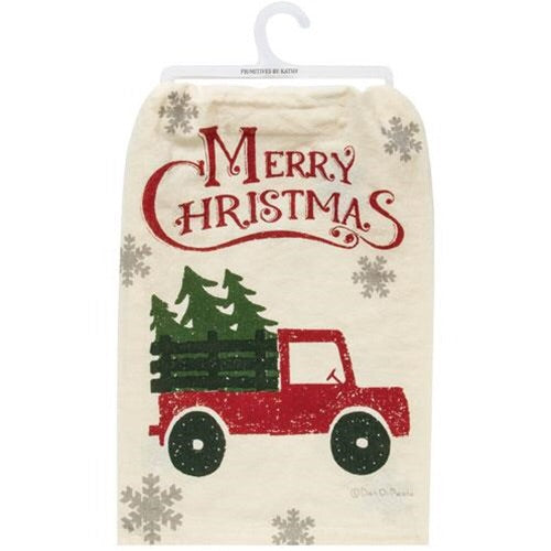 Merry Christmas Truck Dish Towel - Avenue of Oaks Decor