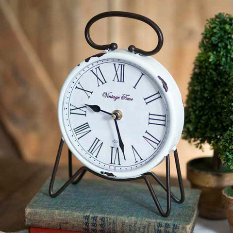 VINTAGE TIME ENAMELWARE TABLE CLOCK - Avenue of Oaks Decor