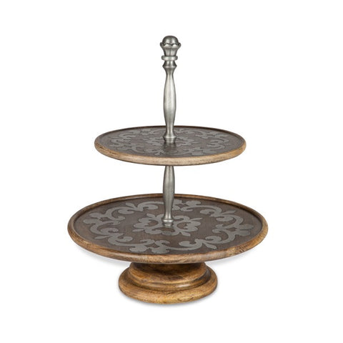 The GG Collection Gracious Goods Wood And Metal Two Tiered Server Heritage Collection - Avenue of Oaks Decor