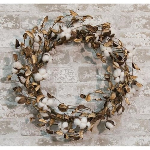 "Farmhouse Cotton Wreath with Shells, 20"" - Avenue of Oaks Decor"