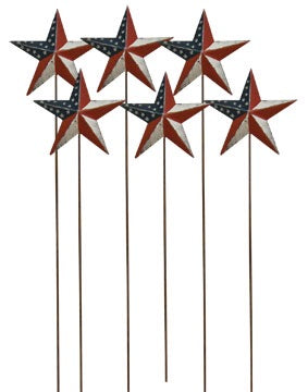 AMERICANA STAR YARD STAKES, SET OF 6 - Avenue of Oaks Decor