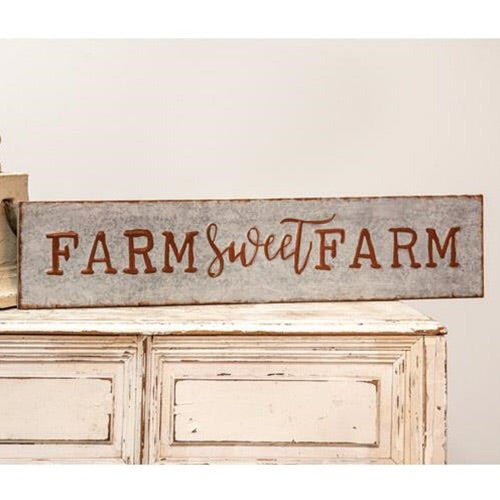 GALVANIZED FARM SWEET FARM METAL SIGN - Avenue of Oaks Decor