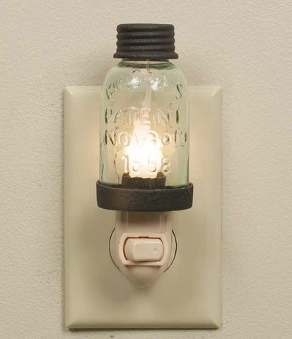 MASON JAR NIGHT LIGHT RUSTIC BROWN - Avenue of Oaks Decor