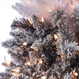 Flocked Black Ombre 7.5 ft., 500 UL Clear Lights - Avenue of Oaks Decor