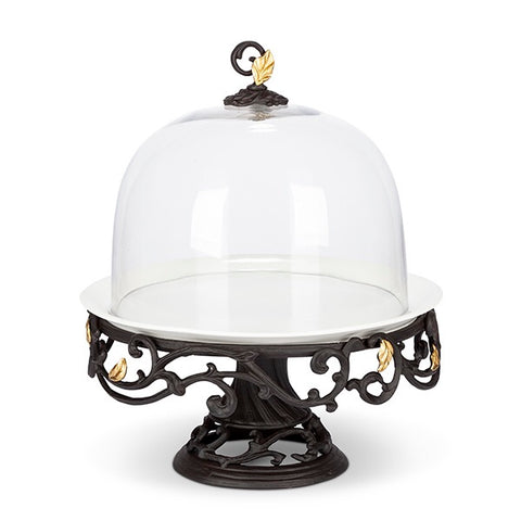 GG Collection Cake Stand Gold Leaf with Glass Dome - Avenue of Oaks Decor
