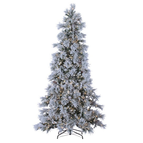 LED Lightly Flocked Snowbell Pine,Twinkling Lights 9 ft. - Avenue of Oaks Decor