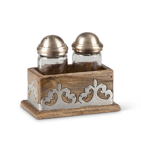 The GG Collection Gracious Wood and Metal Salt & Pepper Set Heritage Collection - Avenue of Oaks Decor