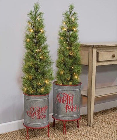 North Pole Christmas Tree Planters, Set Of 2 - Avenue of Oaks Decor
