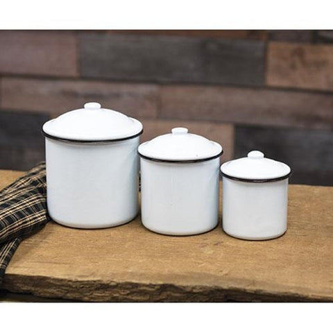 ENAMEL WHITE WITH BLACK RIM CANISTERS, SET OF 3 - Avenue of Oaks Decor