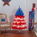 Patriotic American Tree, 5 ft., 495 UL Clear Lights & 5 Twinkle Lights on Top Section - Avenue of Oaks Decor