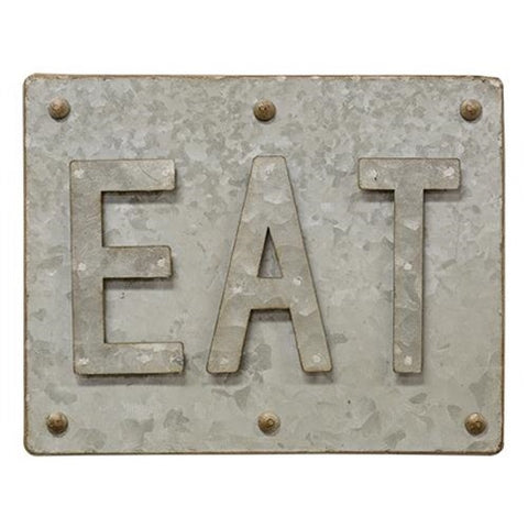 RUSTIC GALVANIZED METAL EAT SIGN - Avenue of Oaks Decor