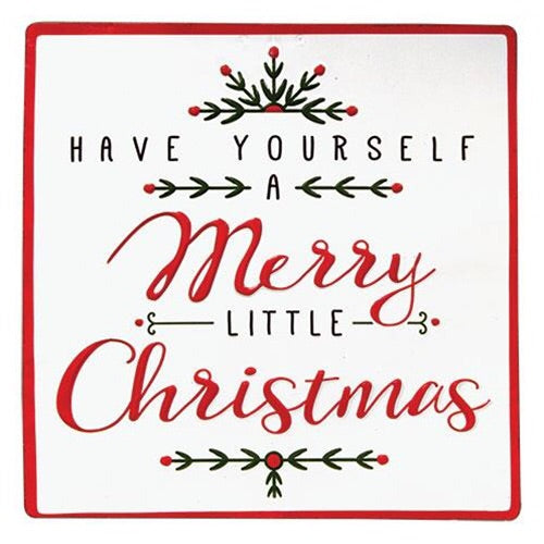 Merry Little Christmas Vintage Style Metal Sign - Avenue of Oaks Decor