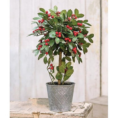 "Potted Christmas Holly with Berries Topiary, 18"" - Avenue of Oaks Decor"