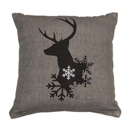 WINTER REINDEER GREY ACCENT PILLOW - Avenue of Oaks Decor