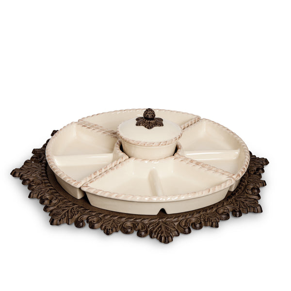 The GG Collection Gracious Acanthus Leaf Lazy Susan Crudite - Avenue of Oaks Decor