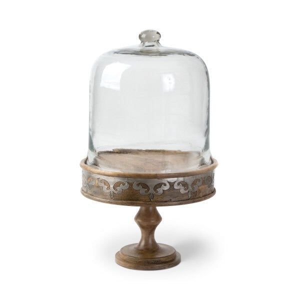 The GG Collection Gracious Goods Wood and Metal Inlay Heritage Collection Cake Stand - Avenue of Oaks Decor