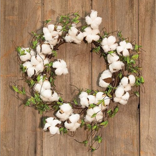 "COTTON AND WILLOW LEAVES WREATH, 22"" - Avenue of Oaks Decor"