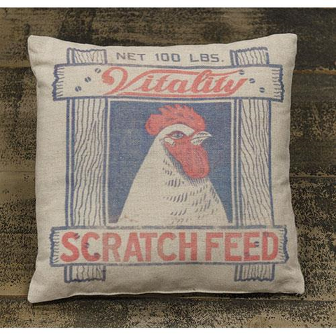 SCRATCH FEED FARMHOUSE ACCENT PILLOW - Avenue of Oaks Decor