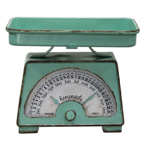 Vintage Scale Calendar in Mint Green with Rust Distressed Edging - Avenue of Oaks Decor