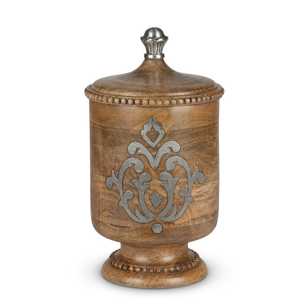 The GG Collection Gracious Goods Wood And Metal Medium Canister Heritage Collection - Avenue of Oaks Decor