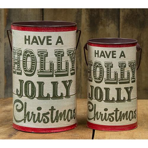 Holly Jolly Vintage Style Buckets, Set Of 2 - Avenue of Oaks Decor