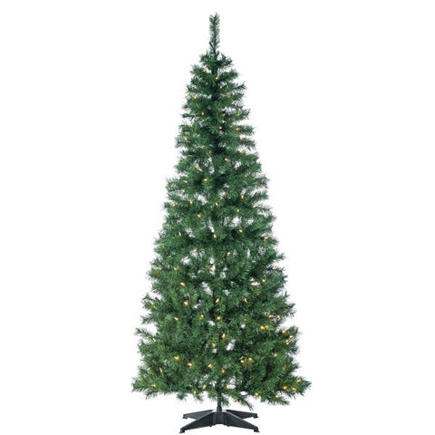 Pop Up LED Green PVC Fir Tree, 6 ft., 200 UL Warm White LED Lights - Avenue of Oaks Decor