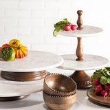 The GG Collection Gracious 2-Tier Marble Etched Floral Server - Avenue of Oaks Decor