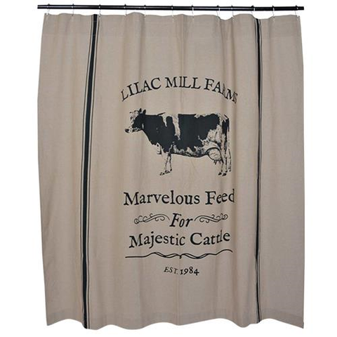 FARMHOUSE MAJESTIC CATTLE SHOWER CURTAIN - Avenue of Oaks Decor