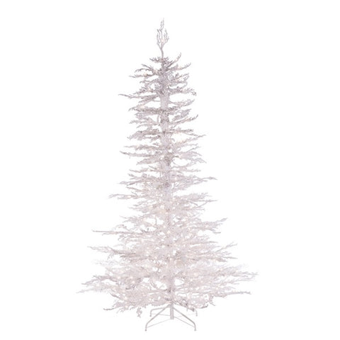 Flocked White Twig Tree 7.5 ft., 300 UL Clear Lights - Avenue of Oaks Decor