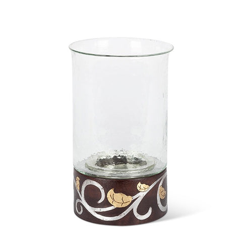 "GG Collection Mango Wood with Metal Inlay Gold Leaf and Vine 12""H Candleholder - Avenue of Oaks Decor"