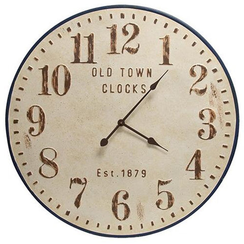 OLD TOWN DISTRESSED METAL CLOCK - Avenue of Oaks Decor