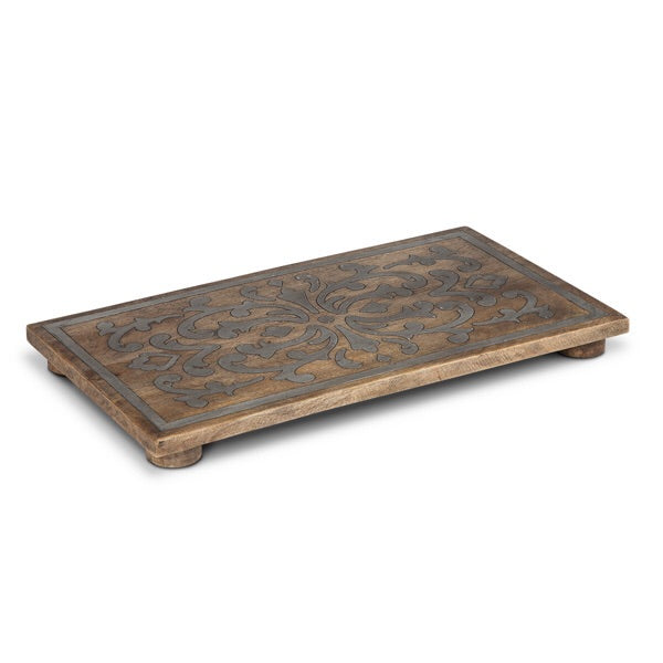 The GG Collection Gracious Goods Wood And Metal Rectangular Trivet Heritage Collection - Avenue of Oaks Decor