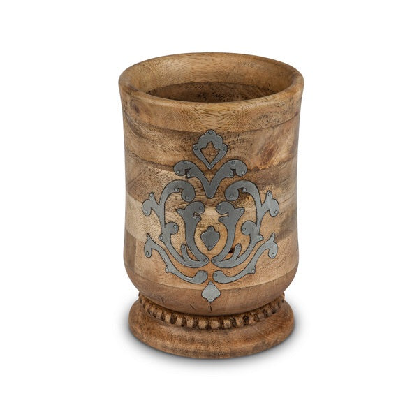 The GG Collection Gracious Goods Wood and Metal Inlay Utensil Holder - Avenue of Oaks Decor