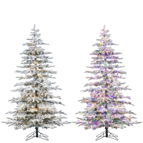 LED Flocked Mountain Pine with Instant Glow Power Pole, 6.5 ft. - Avenue of Oaks Decor