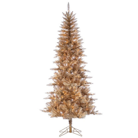 Rose Gold Tuscany Tinsel Tree, 7.5 ft. Pre-Lit Clear Lights - Avenue of Oaks Decor