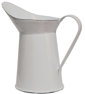 ENAMELWARE WHITE WITH BLACK TRIM MINI PITCHER - Avenue of Oaks Decor