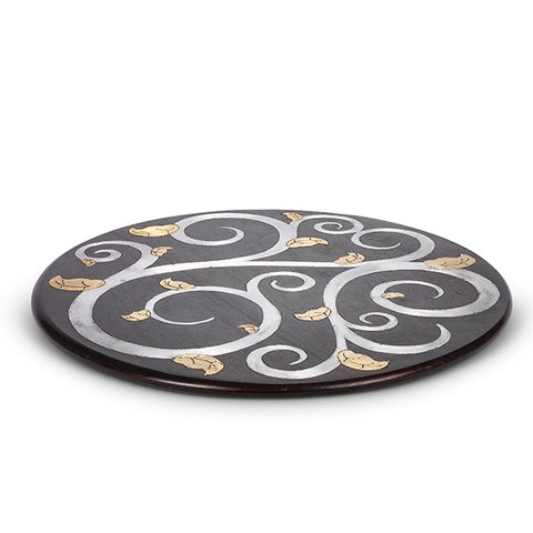 GG Collection Gold Leaf Mango Wood Inlay Lazy Susan - Avenue of Oaks Decor