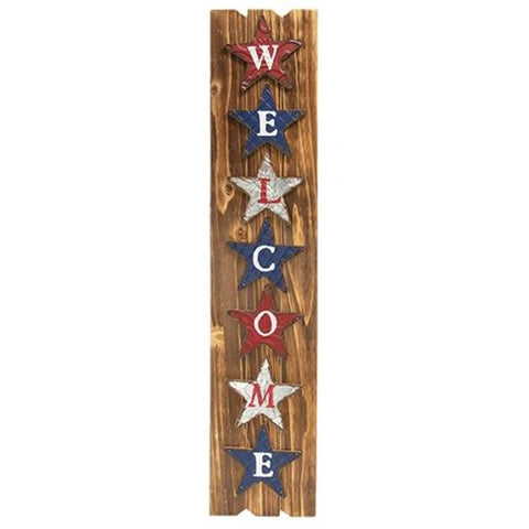 WELCOME AMERICANA WOODEN SIGN WITH METAL STARS - Avenue of Oaks Decor