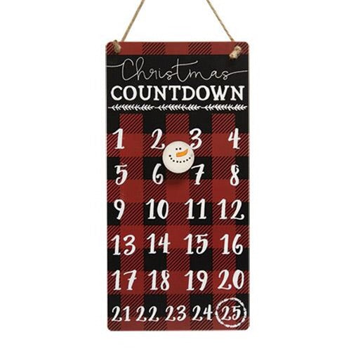 Buffalo Check Christmas Countdown Metal Calendar