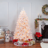 Flocked White PVC Montana Pine 7 ft., 500 UL Clear Lights - Avenue of Oaks Decor