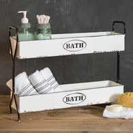 ENAMEL 2 TIER BATH STORAGE CADDY - Avenue of Oaks Decor