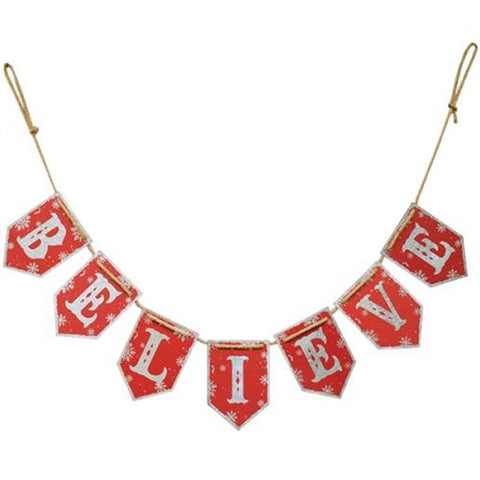 BELIEVE Metal Christmas Garland - Avenue of Oaks Decor