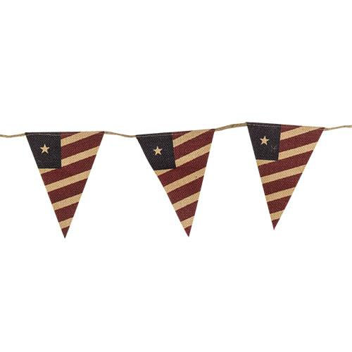 BURLAP PENNANT AMERICAN FLAG GARLAND - Avenue of Oaks Decor