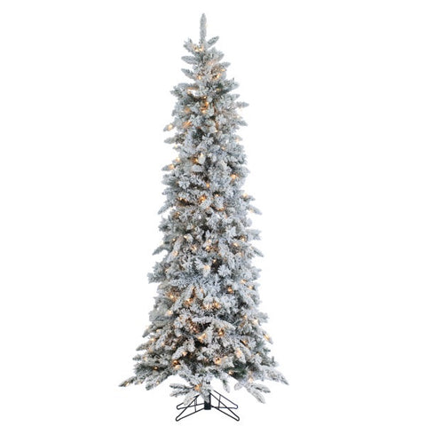 Narrowed Flocked Pencil Pine 7.5 ft., 450 UL Clear Lights - Avenue of Oaks Decor